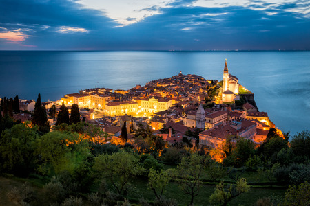 Piran at Night Stock Photo