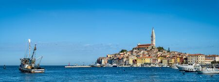 Panoramic view on old town Rovinj from harbor. Istria, Croatia