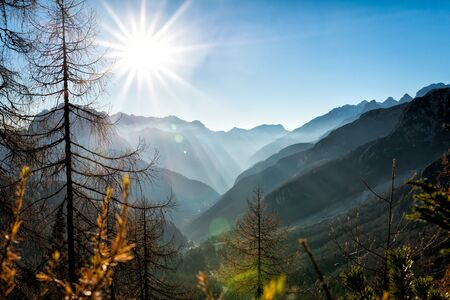 Mountain Sunset - panoramic view Stock Photo