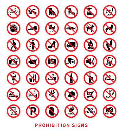 no swimming: Prohibition Signs vector Collection, isolated on white background