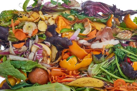 Domestic food waste for compost from fruits and vegetables on white background.