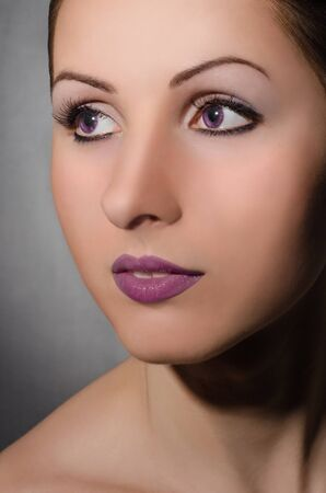Portrait of beautiful girl with violet eyes Stock Photo - 14517140