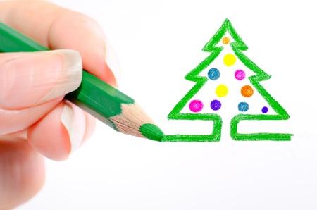 newyear: a new-year tree is drawn a pencil.jpg