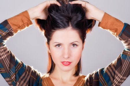 Рortrait of young beautiful woman of brunette Stock Photo - 16639780