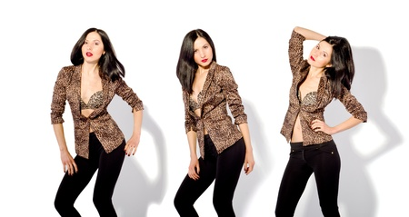 Beautiful slim woman in a leopard jacket in three positions photo