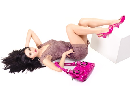 Woman lying on the floor with disheveled hair Stock Photo