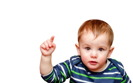 public speaking: Portrait of beautiful boy pointing finger. Isolated Stock Photo