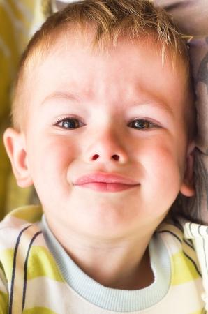 plaintive: Plaintive portrait of cute little boy Stock Photo