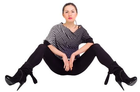 legs apart: Sexy girl posing with his legs apart Stock Photo