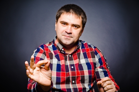 discourse: Portrait of man of gesticulating by hands Stock Photo