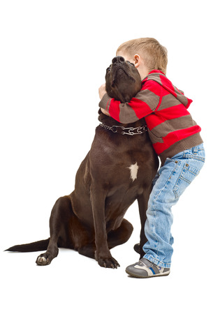 Friendly embraces a little boy and dog photo