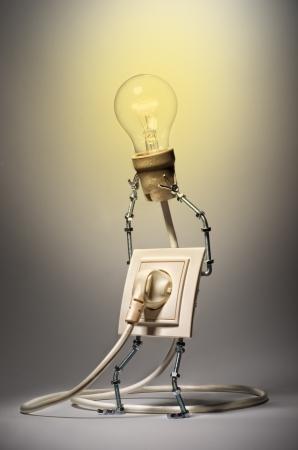 aloft: Rosette holding aloft a glowing the bulb