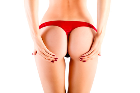Perfect female sexy buttocks in red lingerie