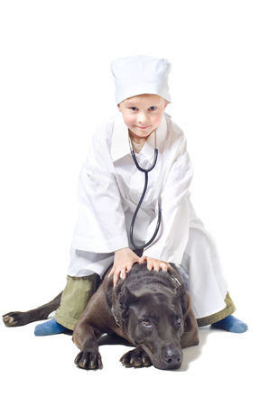 Little vet sitting on a dog isolated on white background photo