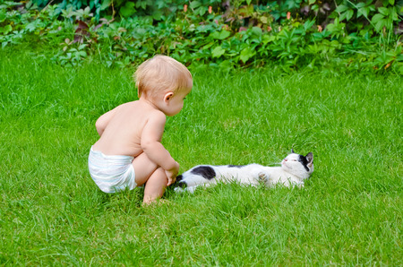 Baby and the cat on the lawn photo