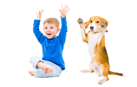 Cheerful boy and dog together with hands raised photo