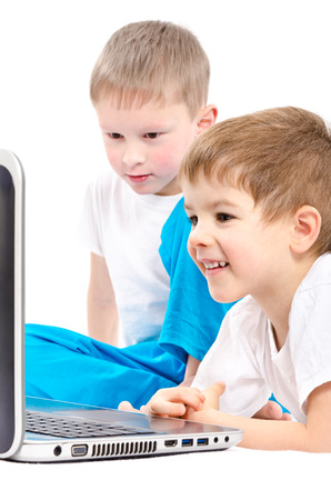 laptop screen: Children looking on laptop screen, isolated on white background
