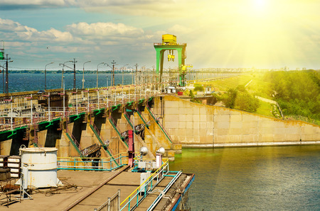 hydroelectric: Hydroelectric power station, the river Dnepr, Dneprodzerzhinsk, Ukraine