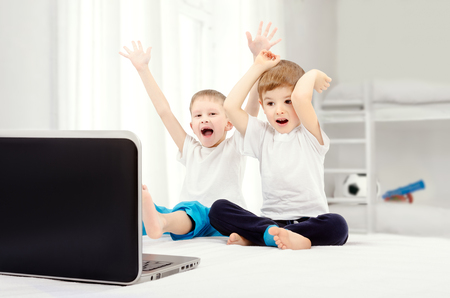 hooray: Two joyful boys, sitting in front of a laptop screen in the childrens room
