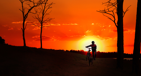 pit fall: Silhouette of a biker with a dog, walking in the forest at sunset Stock Photo