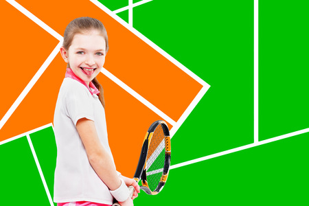 Portrait of a young cheerful girl tennis player