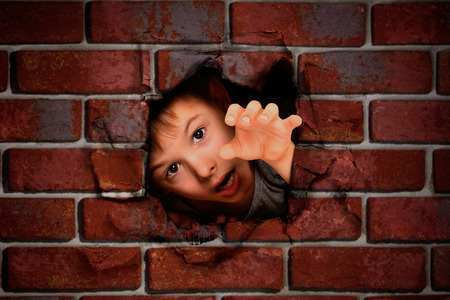 Portrait of a boy in a brick wall