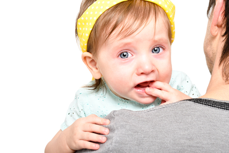 Portrait of a cute little girl crying Stock Photo