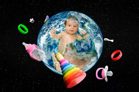 Cute baby in planet Earth in space and around revolve baby accessories.