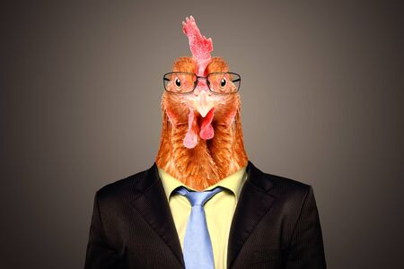 Portrait of a rooster in a business suit and glasses on a brown background