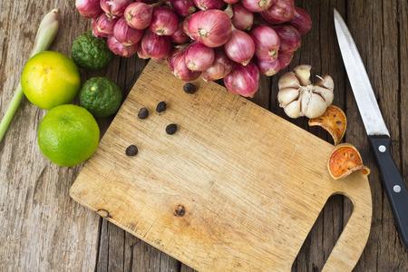 Thai food cooking ingredients on wood background Stock Photo