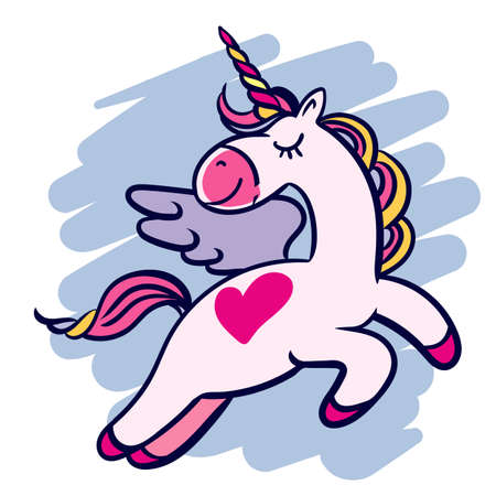 Hand-drawn magical flying unicorn with a heart.