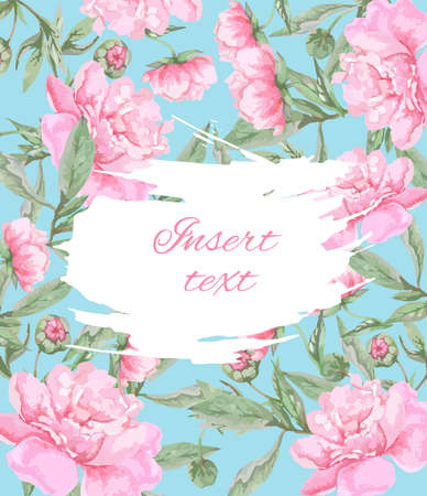 Postcard template with pink peonies on a blue background with place for text. Vector Illustration