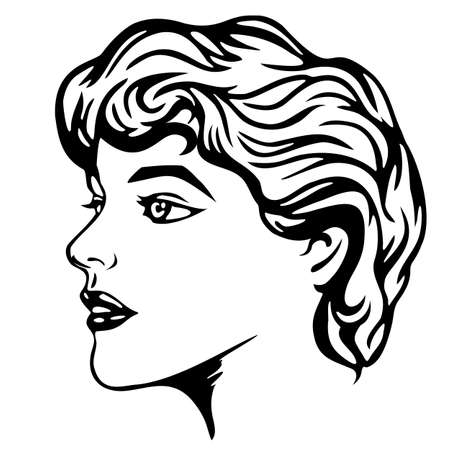 Stylized profile of a girl striving forward.