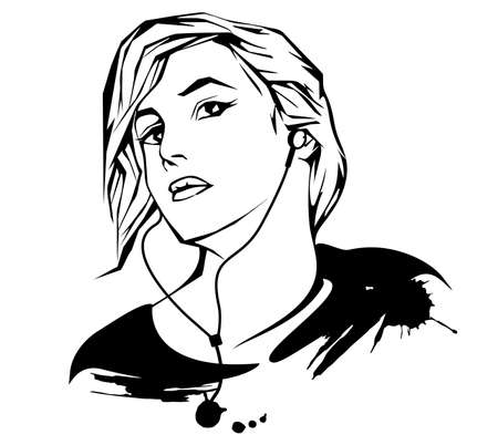 Portrait of a girl with headphones in a modern abstract style. Hand drawn polygonal image of a girl who is listening to music, isolated outline on a white background.