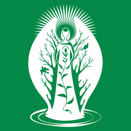 An angel, a guardian of nature with wings, guards the germinated grain. Silhouette isolated on green background 向量圖像