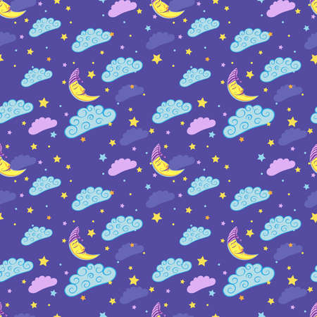 Seamless pattern with cute sleeping moon, stars and clouds. Vector illustration.
