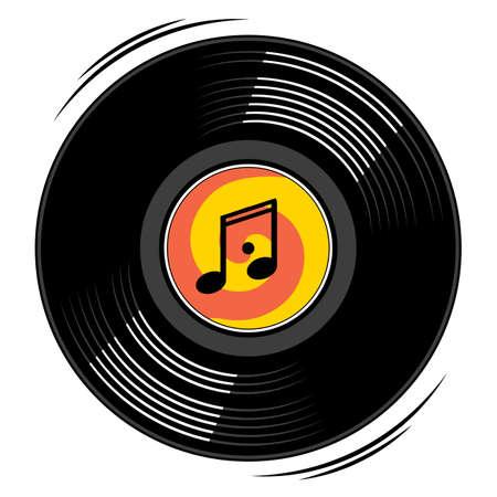 Vintage vinyl record. Icon, design element isolated on white background.