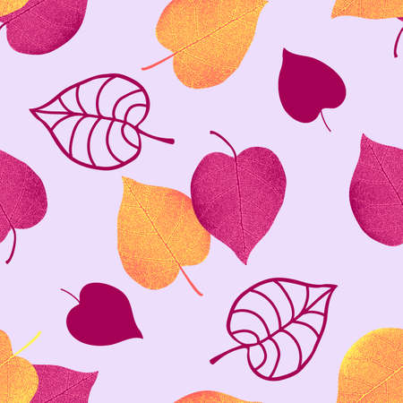 Vector seamless pattern from autumn leaves. Background for design, graphics, printing. Vettoriali