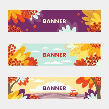 Autumn season simple colorful horizontal banners. Autumn, yellow foliage of trees, rowan berries, car.