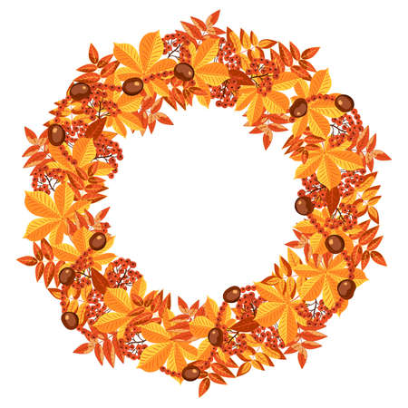 Autumn colorful round frame from Isolated on white background. Autumn yellow and red foliage of trees, rowan berries are collected in a wreath.