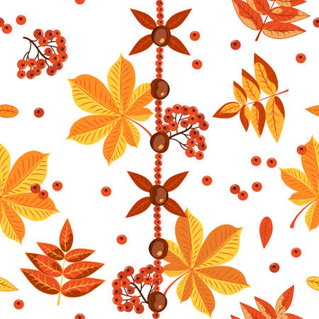 Autumn colorful seamless pattern on a white background. Autumn yellow and red foliage of trees, chestnuts, rowan berries.