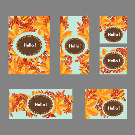 Postcard design templates featuring fall foliage, rowan berries and place to insert text.