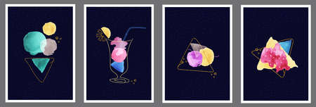 Image of ice cream cone, cocktail, dessert and bread with jam. Abstract art background with watercolor stain elements vector.