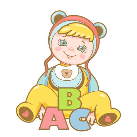 Small child is sitting in an overalls and a hat with ears with the letters ABC.