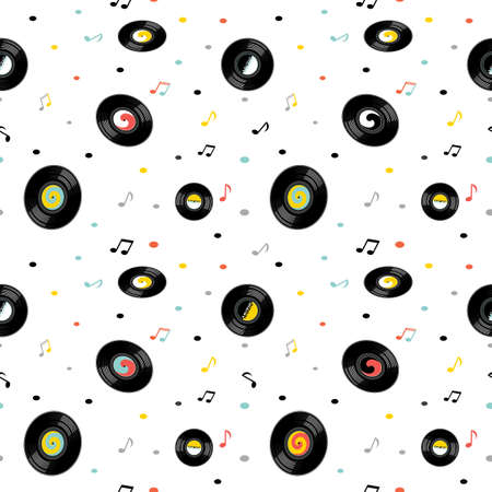 Music notes and vintage vinyl records seamless pattern. Elements of the pattern are separated from the background.