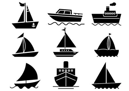 ensemble d'icônes solides, transport, bateau, illustrations vectorielles