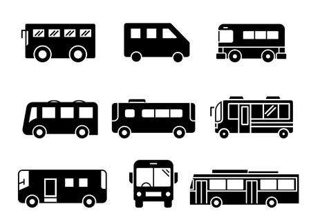 set di icone solide, trasporto, autobus, illustrazioni vettoriali Vettoriali