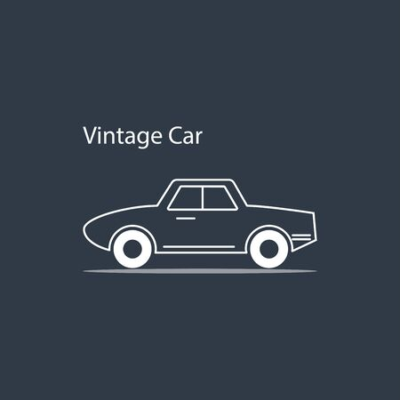 line art white car icons in vintage style,vector illustrations Illustration