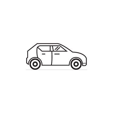 Vector illustration of thin line icons for car,Linear symbols set.