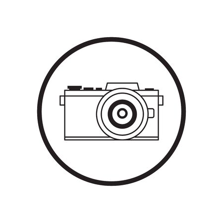 Vector illustration of thin line icons for black camera in modern style,Linear symbols set.